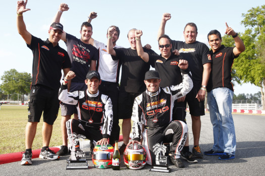Team PSL Karting celebrates the Rotax DD2 Masters championship and vice-championship titles with team drivers Cristiano Morgado and Scott Campbell (Photo by: INTL-KartingMedia.com)