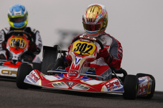 Kevin Monteith held Johnny Flute at bay in winning his first in Rotax Senior. (Photo by: Cody Schindel/CKN)