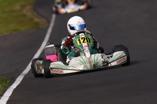 Summit GP's newest driver Jackson Neilands would get behind the wheel of a Tony Kart and quickly ran inside the top ten  (Photo: Cody Schindel - CanadianKartingNews.com)
