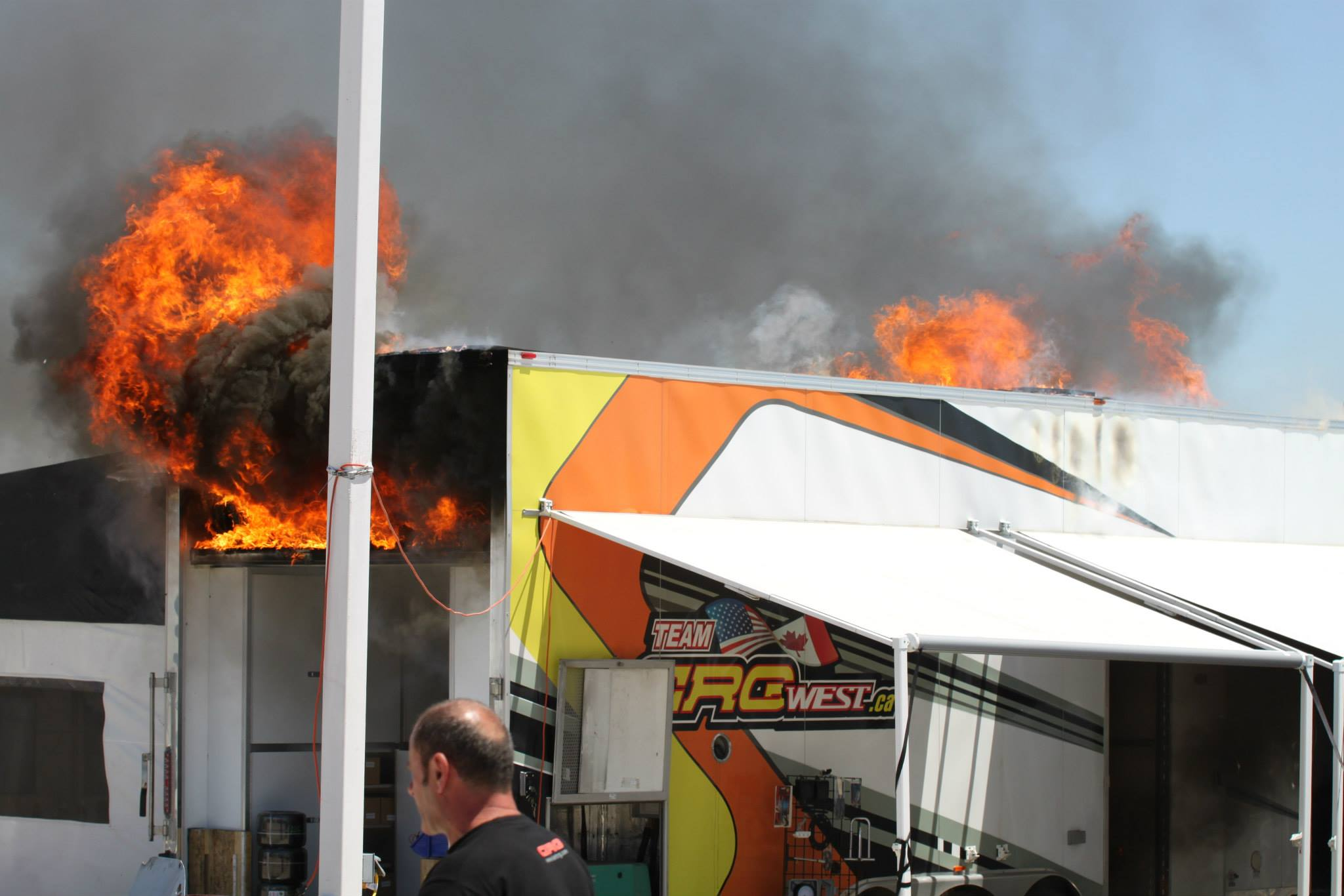 crg west loses team trailer in horrific trackside fire in
