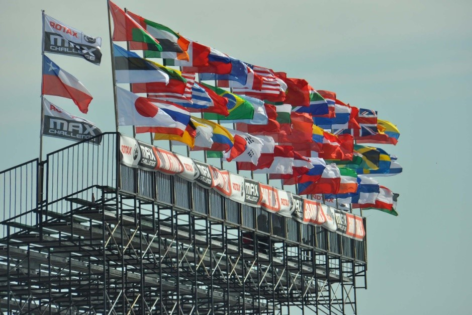 The flags from all participating countries during the Grand Finals of karting. © BRP 2015