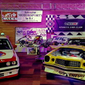 Confederation of Autosport Car Clubs, Sports Car Club of British Columbia, Greg Moore Raceway, West Coast Kart Club Corroborate to promote motor sport with colourful display featuring a variety of racing vehicles, multi-media and brochures.