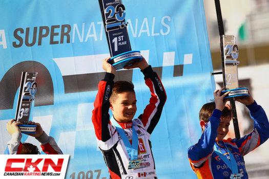 Thomas Nepveu on top of the SKUSA podium (Photo by: Cody Schindel / CKN)